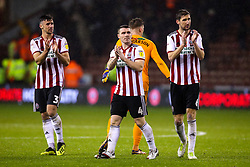 Enda Stevens, John Fleck and Chris Basham of Sheffield United cut frustrated figures after his side draw with Sheffield Wednesday - Mandatory by-line: Robbie Stephenson/JMP - 09/11/2018 - FOOTBALL - Bramall Lane - Sheffield, England - Sheffield United v Sheffield Wednesday - Sky Bet Championship