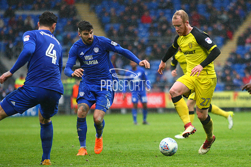Burton Albion's Liam Boyce takes on Cardiff City's Callum Paterson during the EFL Sky Bet Championship match between Cardiff City and Burton Albion at the Cardiff City Stadium, Cardiff, Wales on 30 March 2018. Picture by John Potts.