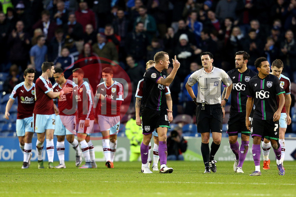Bristol City players argue with the referee after the second goal  - Mandatory byline: Matt McNulty/JMP - 07966 386802 - 28/12/2015 - FOOTBALL - Turf Moor - Burnely, England - Burnley v Bristol City - Sky Bet Championship