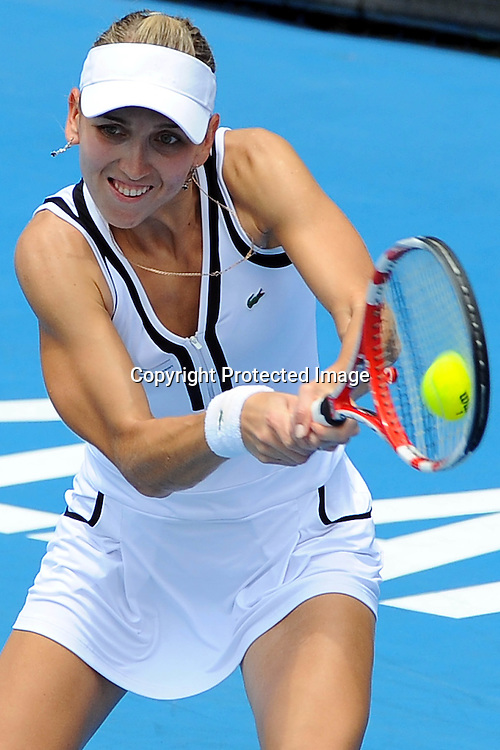 Elena Vesnina(RUS) in action during her match against Marina Erakovic(NZL)      at the WTA 2011 ASB Classic, ASB Tennis Centre, Auckland, New Zealand. Tuesday 4 January 2011. Photo: Chris Symes/photosport.co.nz