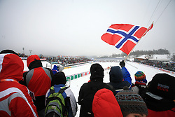 Fans of Norway at Ladies`s and Men`s Sprint Qualifications Cross-country race at  FIS Nordic World Ski Championships Liberec 2008, on February 24, 2009, Vestec, Liberec, Czech Republic. (Photo by Vid Ponikvar / Sportida)