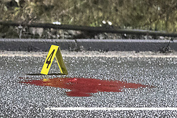 © Licensed to London News Pictures.  08/01/2017 . Salford , UK . Scene of a road traffic accident on the A57 Liverpool Road , Westbound , parallel with the AJ Bell Stadium in Irlam , where it is reported a person died earlier this evening  . Photo credit : Joel Goodman/LNP