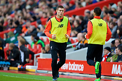 LIVERPOOL, ENGLAND - Saturday, January 28, 2017: Liverpool's substitute James Milner warms-up during the FA Cup 4th Round match against Wolverhampton Wanderers at Anfield. (Pic by David Rawcliffe/Propaganda)