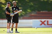 NZ coach John Bracewell in discussion with captain Daniel Vettori.<br /> National Bank Test Match Series, New Zealand v England, Black Caps Nets Practice. Allied Prime Basin Reserve, New Zealand. Wednesday, 12 March 2008. Photo: Dave Lintott/PHOTOSPORT