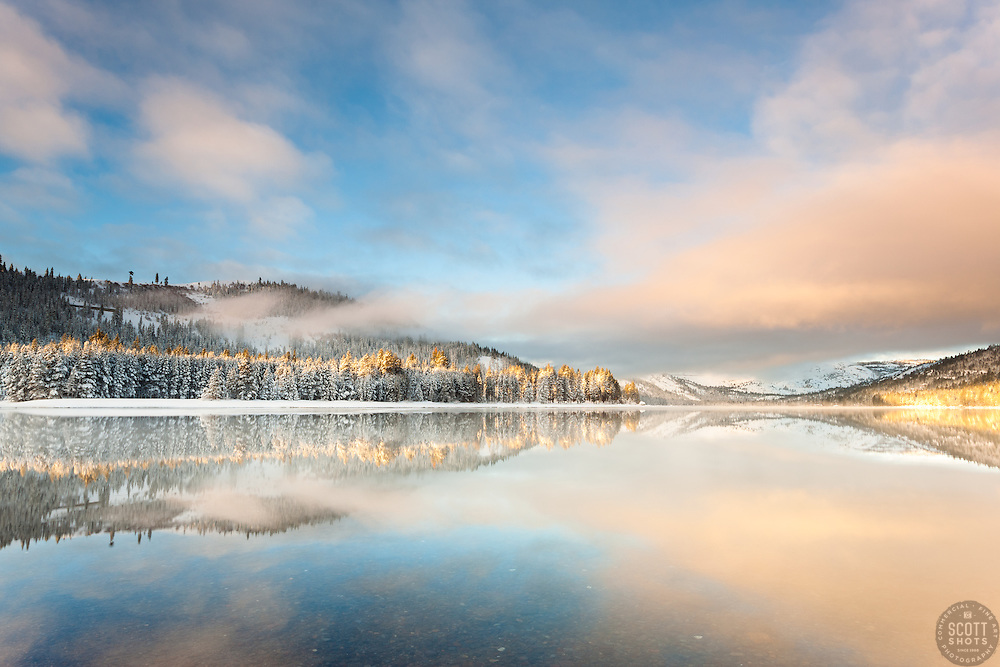 """""""Donner lake Morning 16"""" - Photograph of Donner Lake in Truckee, California just after sunrise, shot from the East shore looking toward Donner Summit."""