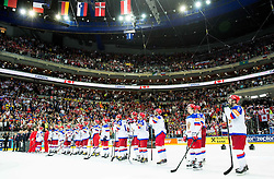 Players of Russia look dejected after the Ice Hockey match between Canada and Russia at Final game of 2015 IIHF World Championship when Team Canada became World Champion 2015, on May 17, 2015 in O2 Arena, Prague, Czech Republic. Photo by Vid Ponikvar / Sportida