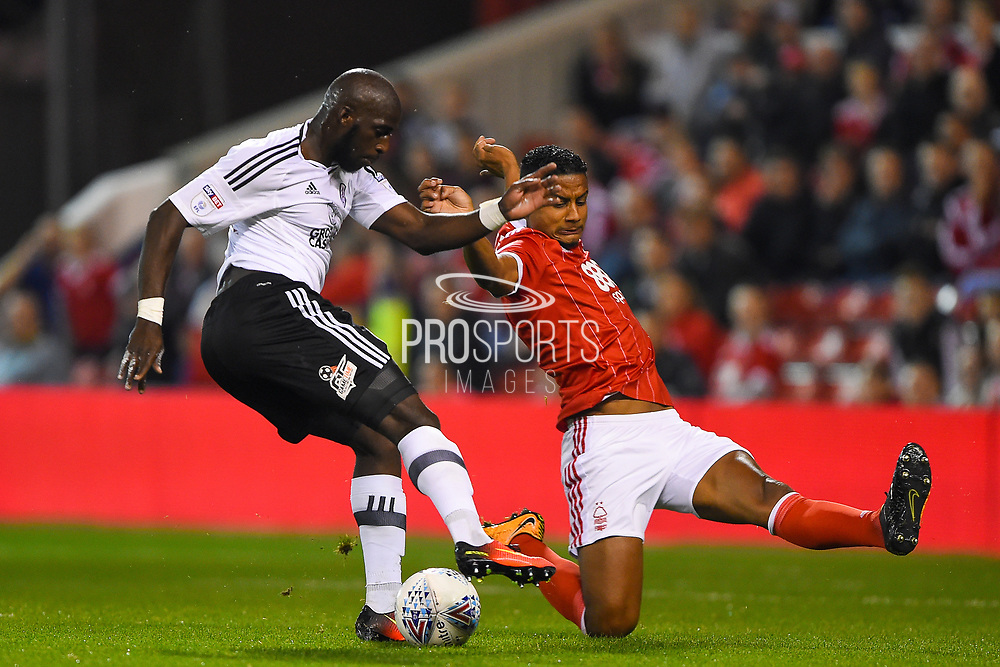 Fulham striker Aboubakar Kamara (47) shoots and scores a goal to make it 0-1 during the EFL Sky Bet Championship match between Nottingham Forest and Fulham at the City Ground, Nottingham, England on 26 September 2017. Photo by Jon Hobley.