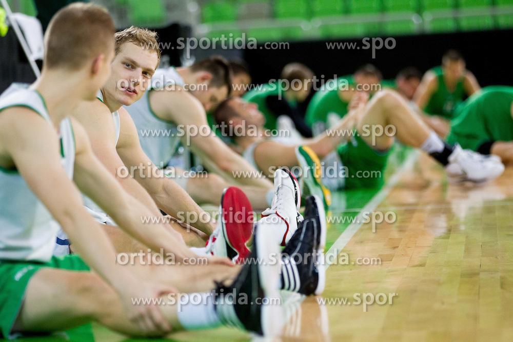 Jaka Blazic of Union Olimpija during practice session of KK Union Olimpija 1 day before Euroleague Basketball match against Fenerbahce Ulker Istanbul (TUR) on October 18, 2012 in Arena Stozice, Ljubljana, Slovenia. (Photo By Vid Ponikvar / Sportida)