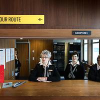 Nederland, Rotterdam , 18 november 2010..Beleef een unieke ervaring aan boord van De Rotterdam. Voor gewoon een kopje koffie, een zakenlunch, simpel maar heel lekker eten of juist een uitgebreid diner in de 'huiskamer' van het voormalige vlaggenschip van de Holland America Lijn. Daarna nog een lekkere cocktail in de Ocean Bar waarna het avontuur verder gaat in een van de 254 hotelkamers....Op de foto de receptie en tevens informatiecentrum..The Rotterdam, the former flagship of Holland America Line is now a luxury hotel