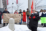 Loreena Garvey-Shepley, a well known local activisit, talks about the Colten Boushie court case in front of the Windsor Courthouse in downtown Windsor, Ontario, Canada. This is the second Windsor rally in support of Boushie and his family.
