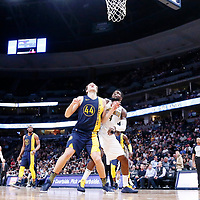 03 April 2018: Indiana Pacers forward Bojan Bogdanovic (44) vies for the rebound with Denver Nuggets forward Paul Millsap (4) during the Denver Nuggets 107-104 victory over the Indiana Pacers, at the Pepsi Center, Denver, Colorado, USA.