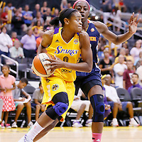03 August 2014: Los Angeles Sparks guard/forward Alana Beard (0) drives past Connecticut Sun forward Chiney Ogwumike (13) during the Los Angeles Sparks 70-69 victory over the Connecticut Sun, at the Staples Center, Los Angeles, California, USA.