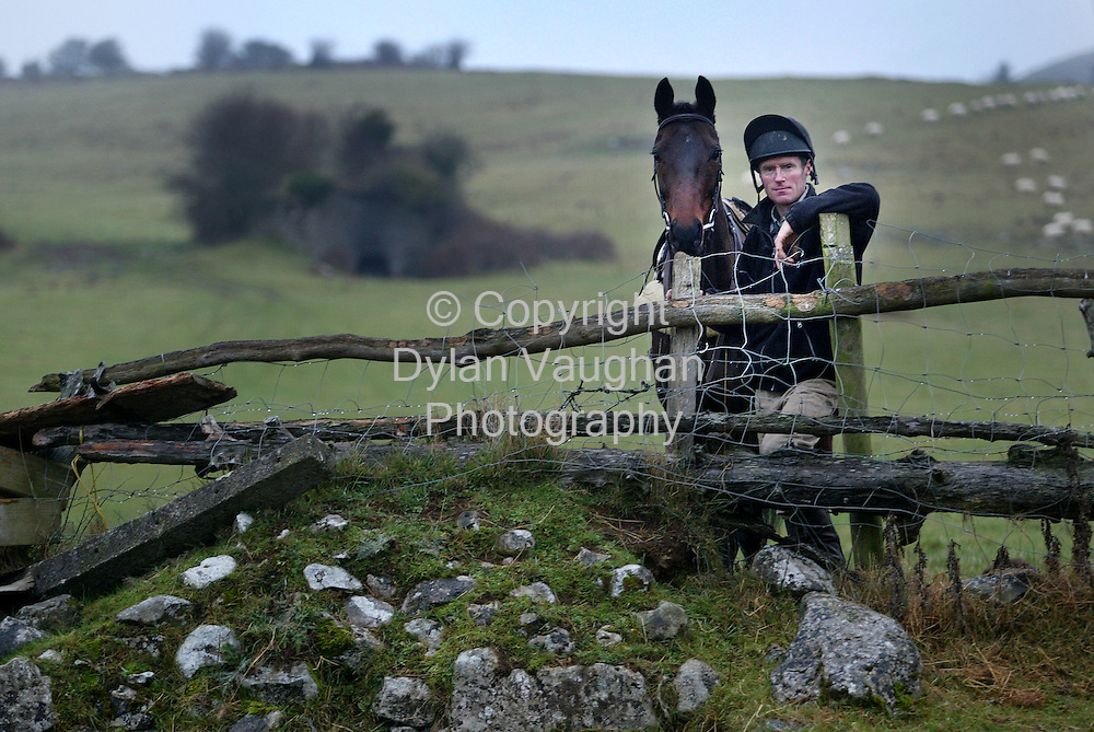 "19/12/2003.Michael Bowe pictured at his farm in Kilkenny with ""Solerina"".Picture Dylan Vaughan"