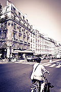 Cyclist, Boulevard Saint-Germain, Left Bank, Paris, France