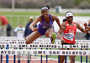 Apr 20, 2019; Torrance, CA, USA; Asjah Atkinson of St.Anthony wins the invitational girls 100m hurdles in 14.42 during the 61st Mt. San Antonio College Relays at El Camino College.
