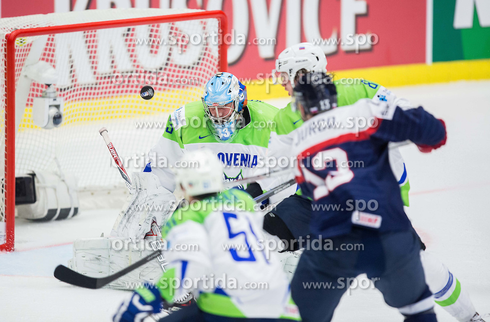 Robert Kristan of Slovenia, Ziga Jeglic of Slovenia and Tomas Jurco of Slovakia during Ice Hockey match between Slovakia and Slovenia at Day 5 in Group B of 2015 IIHF World Championship, on May 5, 2015 in CEZ Arena, Ostrava, Czech Republic. Photo by Vid Ponikvar / Sportida