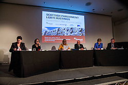 Pictured:Nicola Sturgeon, Kezia Dugdale, Ruth Davidson, Willie Rennie, Patrick Harvie and chair Louise White<br /> <br /> Party leaders Nicola Sturgeon, Kezia Dugdale, Ruth Davidson, Willie Rennie and Patrick Harvie faced questions from the public at an LGBTI election hustings event arranged by Stonewall Scotland, LGBT youth Scotland, Equaity Network and The Scottish Equality Network at the Royal College of Surgeons of Edinburgh. Edinburgh. 31 March 2016<br /> <br /> Ger Harley | Edinburghelitemedia.co.uk