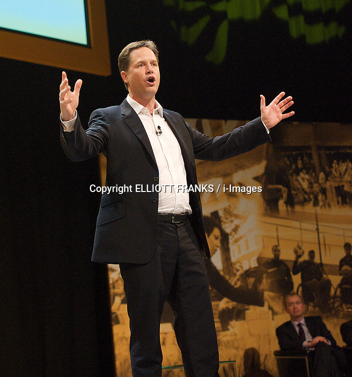 Deputy Prime Minister Nick Clegg and Leader of the Liberal Democrats attends a Rally at The Brighton Centre at the start of the Liberal Democrats Annual Conference in Brighton, Saturday September 22, 2012. Photograph by Elliott Franks / i-Images
