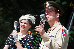 Andy and Vicky White of the singing duo Jump Jive and Swing<br /> <br /> 26-27 July 2014<br /> Image © Paul David Drabble <br /> www.pauldaviddrabble.co.uk