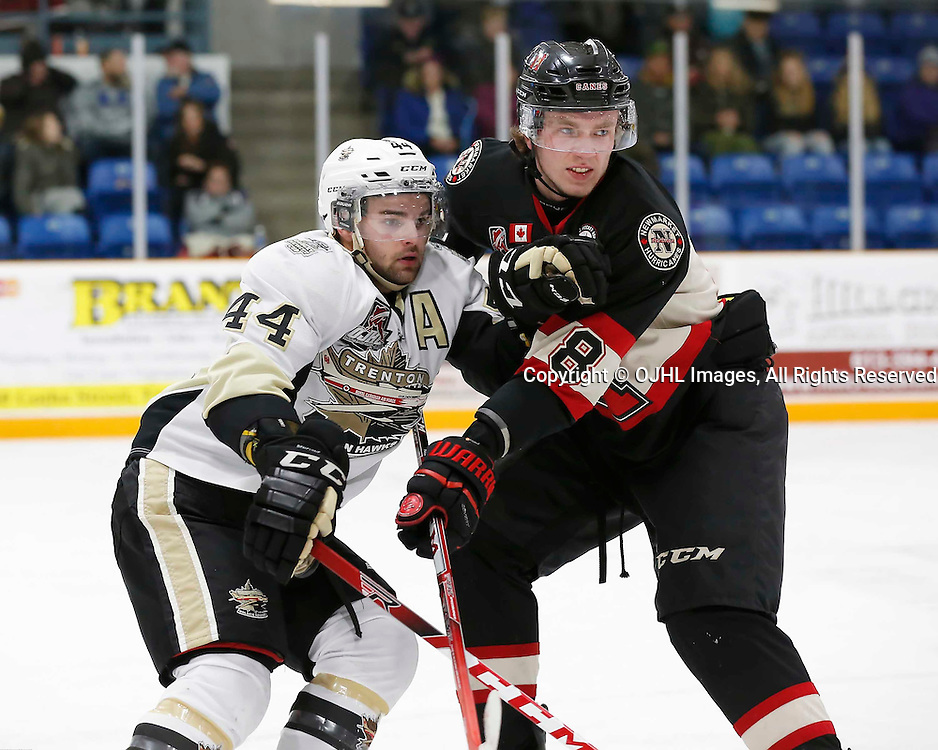 TRENTON, ON - MAR 3,  2017: Ontario Junior Hockey League, playoff game between the Trenton Golden Hawks and the Newmarket Hurricanes., Nick Boddy #44 of the Trenton Golden Hawks and Quinn Yule #8 of the Newmarket Hurricanes battle during the second period<br /> (Photo by Amy Deroche / OJHL Images)