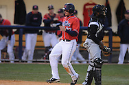 Mississippi's Taylor Hashman scores vs. Arkansas-Pine Bluff at Oxford-University Stadium in Oxford, Miss. on Tuesday, March 16, 2010. Hashman scored a school record six runs, going 3-for-4 at the plate with six RBI as he helped lead No. 19 Ole Miss (13-4) to a 17-1 win.