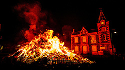 The Biggar Hogmanay bonfire lit at 9.30pm on Hogmanay by local resident John Michie.<br /> <br /> This is probably the biggest new year bonfire anywhere in the UK and continues a tradition going back hundreds of years.<br /> <br /> <br /> (c) Andrew Wilson | Edinburgh Elite media