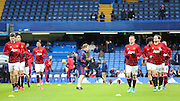 Manchester United players in warm up during the Barclays Premier League match between Chelsea and Manchester United at Stamford Bridge, London, England on 7 February 2016. Photo by Phil Duncan.