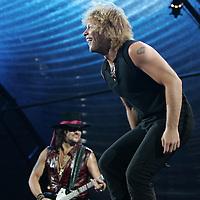 (PPAGE1) East Rutherford 7/18/2006   Bon Jovi in concert at Giants Stadium.  Here Jon and lead guitarist Richie Sambora on stage. Michael J. Treola Staff Photographer.....MJT