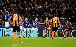 Robert Snodgrass of Hull City takes a free kick which hits the wood work - Mandatory by-line: Matt McNulty/JMP - 30/12/2016 - FOOTBALL - KCom Stadium - Hull, England - Hull City v Everton - Premier League