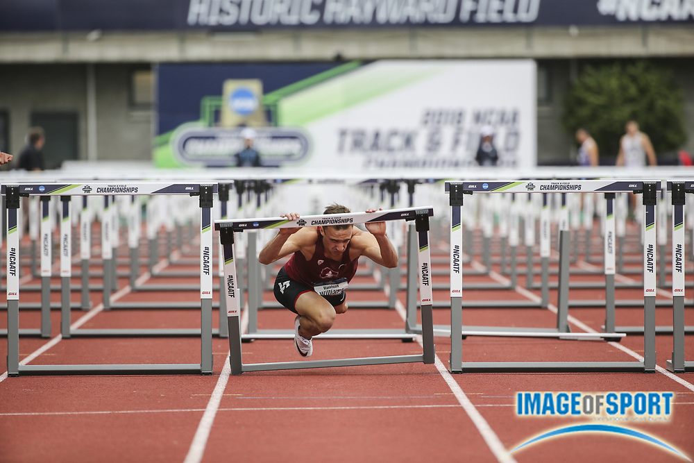 Jun 7, 2018; Eugene, OR, USA; Harrison Williams of Stanford falls  in the 110m hurdles  during the NCAA Track and Field championships at Hayward Field.