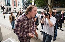 © licensed to London News Pictures.  02/08/2011. London, UK. Jonathan May-Bowles, AKA Jonnie Marbles arriving at Westminster magistrates court today (02/08/2011) where he is due to be sentenced  for assault and causing harassment, alarm or distress. May-Bowles threw a foam pie at Rupert Murdoch as he gave evidence over the phone-hacking scandal at the House of Commons Culture, Media and Sport Committee hearing. Photo credit: Ben Cawthra.