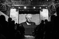 """ROME, ITALY - 15 JANUARY 2013: Outgoing Prime Minister of Italy Mario Monti (69), running in the 2013 Italian General Elections with the centrist party """"Civic Choice, Mario Monti for Italy"""", during a convention with Andrea Ricardi and Luca Cordero di Montezemolo in Rome, Italy on January 15, 2013.<br /> <br /> A general election to determine the 630 members of the Chamber of Deputies and the 315 elective members of the Senate, the two houses of the Italian parliament, will take place on 24–25 February 2013. The main candidates running for Prime Minister are Pierluigi Bersani (leader of the centre-left coalition """"Italy. Common Good""""), former PM Mario Monti (leader of the centrist coalition """"With Monti for Italy"""") and former PM Silvio Berlusconi (leader of the centre-right coalition).<br /> <br /> ###<br /> <br /> ROMA, ITALIA - 15 FEBBRAIO 2013: Il premier uscente Mario Monti, candidato alle elezioni politiche con la lista """"Scelta Civila, Mario Monti per l'Italia"""", durante una convention a Rome, il 15 febbraio 2013.<br /> Le elezioni politiche italiane del 2013 per il rinnovo dei due rami del Parlamento italiano – la Camera dei deputati e il Senato della Repubblica – si terranno domenica 24 e lunedì 25 febbraio 2013 a seguito dello scioglimento anticipato delle Camere avvenuto il 22 dicembre 2012, quattro mesi prima della conclusione naturale della XVI Legislatura. I principali candidate per la Presidenza del Consiglio sono Pierluigi Bersani (leader della coalizione di centro-sinistra """"Italia. Bene Comune""""), il premier uscente Mario Monti (leader della coalizione di centro """"Con Monti per l'Italia"""") e l'ex-premier Silvio Berlusconi (leader della coalizione di centro-destra)."""