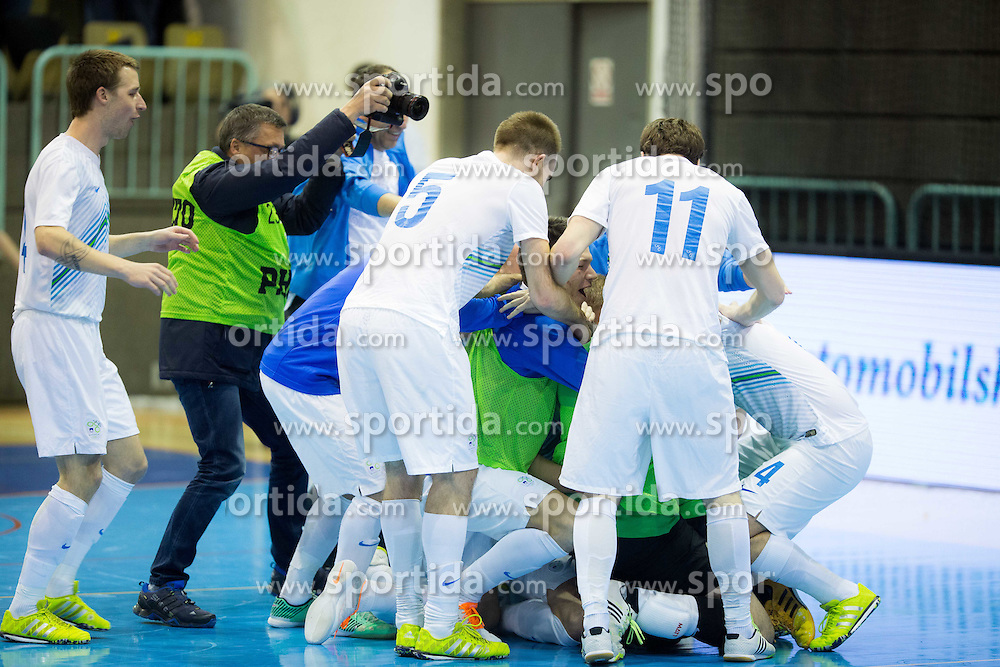 Players of Slovenia celebrate after winning during futsal match between National teams of Slovenia and Spain in Play off of FIFA Futsal World Cup Colombia 2016 Qualifications, on March 22, 2016 in Arena Tabor, Maribor, Slovenia. Photo by Vid Ponikvar / Sportida