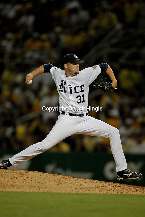 05 June 2009:  Rice pitcher, Jordan Rogers (31) throws during a 12-9 victory by the LSU Tigers over the Rice Owls in game one of the NCAA baseball College World Series, Super Regional played at Alex Box Stadium in Baton Rouge, Louisiana.