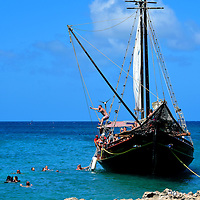Party Schooner Along Malmok Beach in Noord District, Aruba<br />