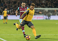 Football - 2016 / 2017 Premier League - West Ham United vs. Arsenal <br /> <br /> Alex Oxlade-Chamberlain of Arsenal with a strike at goal at The London Stadium.<br /> <br /> COLORSPORT/DANIEL BEARHAM