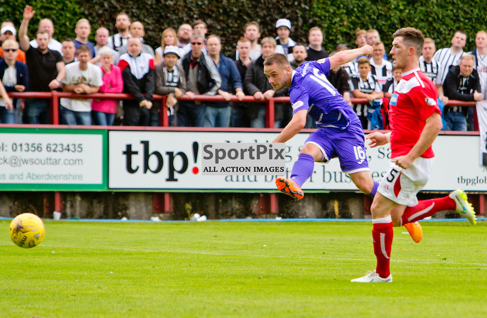 Brechin City v Dunfermline Athletic SPFL League One Season 2015/16 Glebe Park 08 August 2015<br /> Ryan Wallace makes it 5-0<br /> CRAIG BROWN | sportPix.org.uk