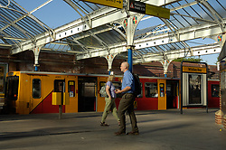 Newcastle Metro: Whitley Bay station; Victorian glass roofed station UK