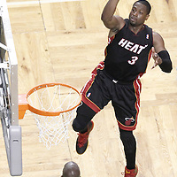 03 June 2012: Miami Heat shooting guard Dwyane Wade (3) takes a jumpshot during the second half of Game 4 of the Eastern Conference Finals playoff series, Heat at Celtics, at the TD Banknorth Garden, Boston, Massachusetts, USA.