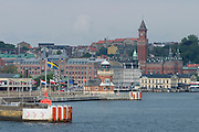 The harbour and city center seen from aboard the Scandlines ferry coming from Helsingør(Denmark).