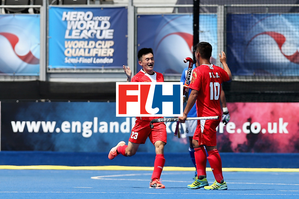 LONDON, ENGLAND - JUNE 17: Zixiang Gou of China celebrates scoring the 5th goal for China during the Hero Hockey World League Semi Final match between China and Korea at Lee Valley Hockey and Tennis Centre on June 17, 2017 in London, England.  (Photo by Alex Morton/Getty Images)