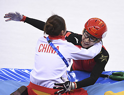 PYEONGCHANG, Feb. 22, 2018  Wu Dajing of China (R) celebrates victory with coach Li Yan after winning men's 500m final of short track speed skating at the 2018 PyeongChang Winter Olympic Games at Gangneung Ice Arena, Gangneung, South Korea, Feb. 22, 2018. Wu Dajing claimed gold medal in a time of 0:39.584 and set new world record. (Credit Image: © Ju Huanzong/Xinhua via ZUMA Wire)