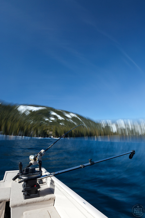 """Fishing Pole at Lake Tahoe 8"" - Photograph of a fishing pole on Lake Tahoe, CA. The seasick motion effect was achieved by using a tripod on the moving boat with a long exposure."