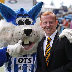 Stevie Aitken with killie mascot during the Kilmarnock v Dumbarton Betfred Cup Group E  29nd July 2017 <br /> <br /> <br /> <br /> <br /> (c) Andy Scott | SportPix.org.uk
