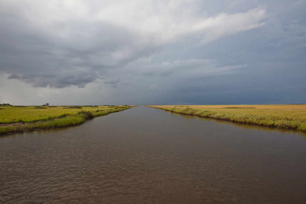Rain clouds over the marsh in Pointe-au-Chien Bayou in Pointe-aux-Chien, Louisiana.