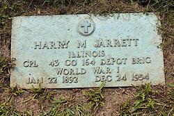 31 August 2017:   Veterans graves in Park Hill Cemetery in eastern McLean County.<br /> <br /> Harry M Jarrett  Illinois Corporal 43 Co 164 Depot Birg  World War 1  Jan 22 1892  Dec 24 1954