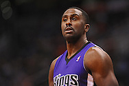 Nov 20, 2013; Phoenix, AZ, USA; Sacramento Kings forward Patrick Patterson (9) reacts on the court against the Phoenix Suns in the first half at US Airways Center. The Kings defeated the Suns 113-106. Mandatory Credit: Jennifer Stewart-USA TODAY Sports