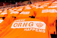 May 23, 2010; Phoenix, AZ, USA; Detail view of Phoenix Suns shirts laid across the seats prior to game three of the western conference finals in the 2010 NBA Playoffs at US Airways Center.  Mandatory Credit: Jennifer Stewart-US PRESSWIRE