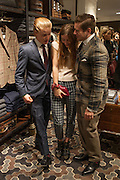 FREDDIE FOX; ANTONIA CLARK; ALLEN LEACH, Opening of new Hackett flagship store. Regent St. London. 28 November 2013.