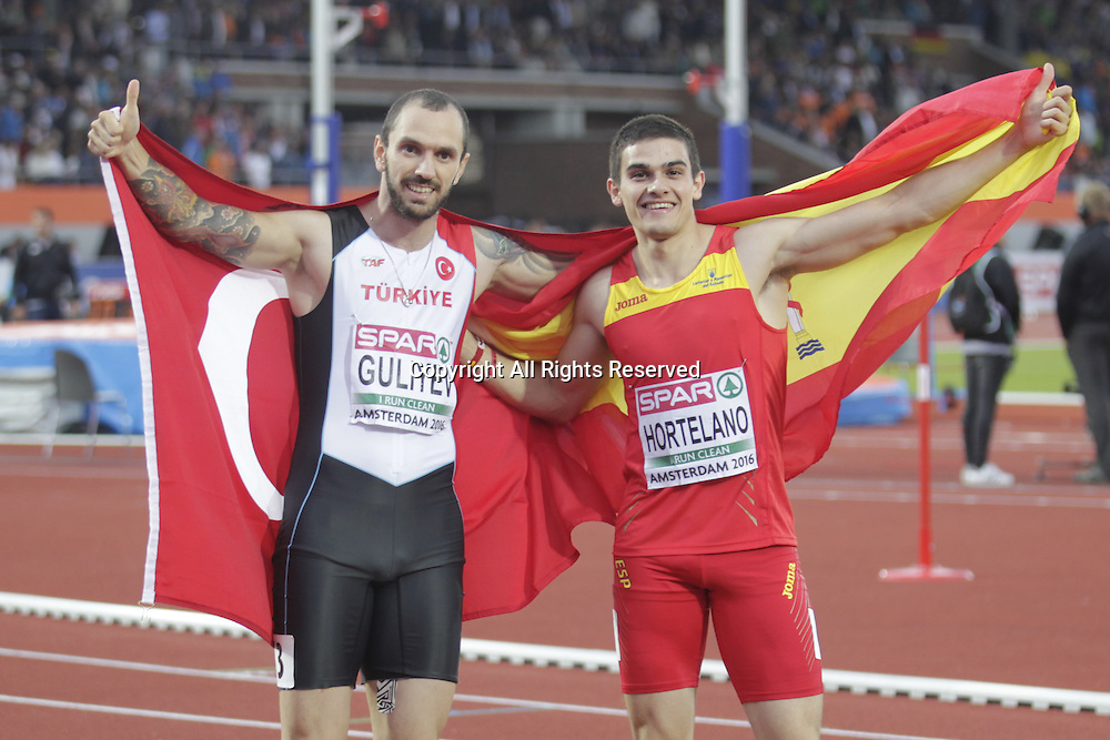 08.07.2016. Amsterdam, Holland. The European Athletics Championships.   Bruno Hortelano and Ramil Gulyiev 1st and 2nd in the 200m men after the disqualification of Churandy Martina